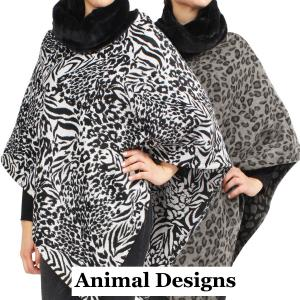 Wholesale Poncho<br>Animal w/ Faux Fur Collar<br>9395 & 9396