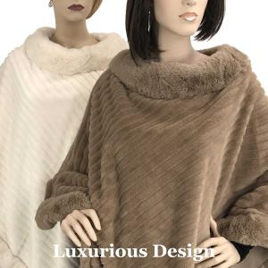 Wholesale Poncho<br>Faux Rabbit Fur w/ Fur Trim<br>9502