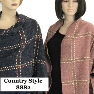 Oblong Scarves<br>Stitch Check<br>w/ Chunky Tassel 8882