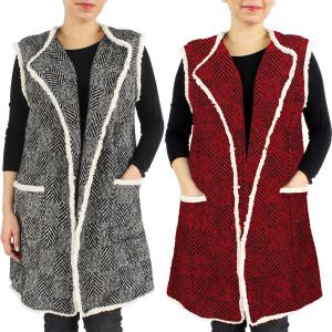 Wholesale Vests<br>Herringbone w/ Fur Edge<br>9407