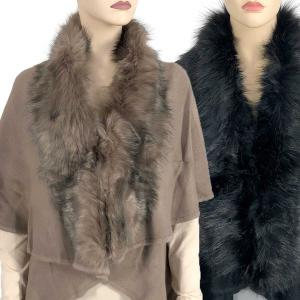 Wholesale Cape Vests<br>Solid w/ Faux Fox Fur<br>93B9