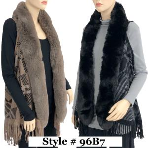 Wholesale Vests<br>Plaid w/ Faux Rabbit Fur<br>96B7