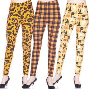 Halloween Print Brushed Fiber Leggings