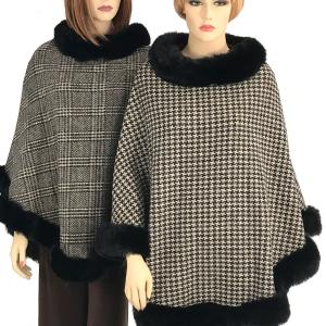 Wholesale Poncho<br>Faux Rabbit Fur Trim
