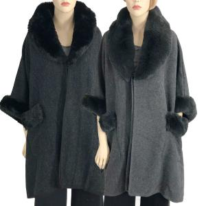 Cloaks<br>Faux Rabbit Fur Trim<br>w/ Pockets