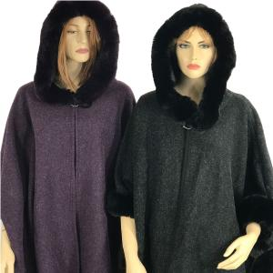 Cloaks<br>Hooded Faux Rabbit Fur Trim<br>w/ Buckle Clasp