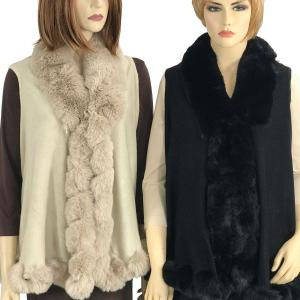 Vests<br>Faux Rabbit Fur Trim