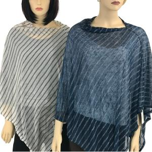 Wholesale Poncho<br>Sheer Striped <br>9690