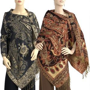 Metallic Print Shawls<br>with Buttons