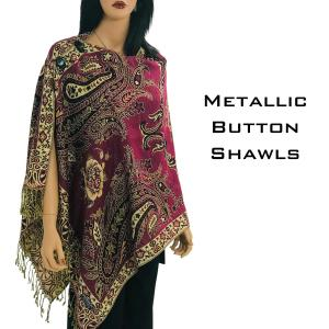 Wholesale Metallic Print Shawls<br>with Buttons