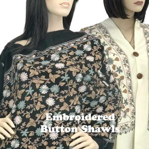 Embroidered<br>Brushed Cashmere Feel<br>Shawls w/ Buttons