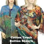 COTTON TOUCH Art Design Shawls w/ Buttons