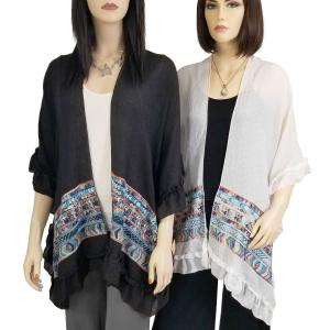Wholesale Ruffled Embroidered Kimono<br>Cotton Feel<br>1353