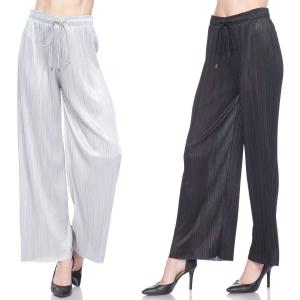 Wholesale Pleated Wide Leg Pants<br>Ankle Length<br>Shimmer