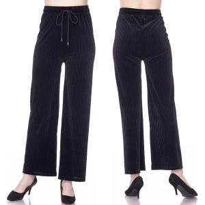 Wholesale Pleated Wide Leg Pants<br>Ankle Length<br>Velour