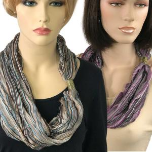 Wholesale <b>Magnetic Clasp Scarves </b>(Crinkled Stripes 1009)<br>Assembled in Massachusetts