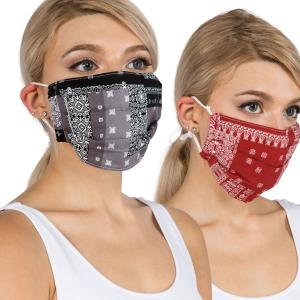 Wholesale Protective Masks by Cate-<br> Pleated Bandana w/Filters