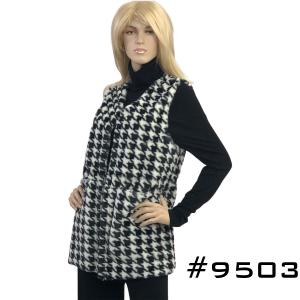 Wholesale Houndstooth Print<br>Faux Fur Vest<br>9503