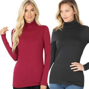 Wholesale Brushed Fiber <br> Ruched Turtleneck<br> Long Sleeve 2055