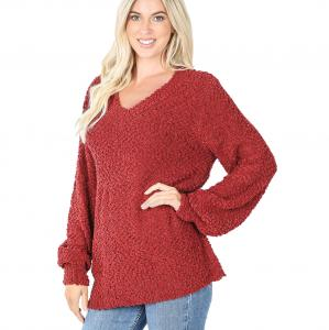 Wholesale Sweater - Popcorn Balloon Sleeve V-Neck 2736