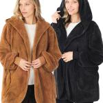 Jacket - Hooded Faux Fur with Pockets 2615