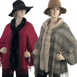 Wholesale Cashmere Feel Shawls w/ Faux Rabbit Fur Trim LC1R
