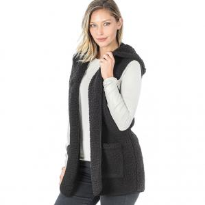 Wholesale Vest - Sherpa Hooded Vest 75021