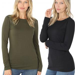 Wholesale Brushed Fiber - Round Neck Long Sleeve 2053