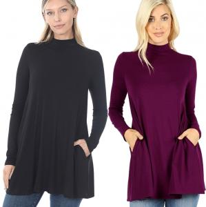 Mock Turtleneck - Long Sleeve with Pockets 1641