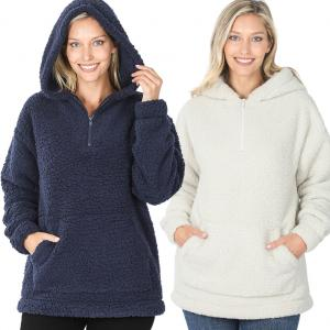 Hoodie - Sherpa Half Zip with Kangaroo Pocket 2845