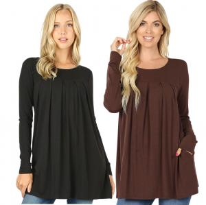 Wholesale Tops - Long Sleeve Round Neck Pleated 1658