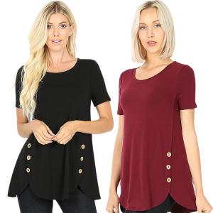 Wholesale Short Sleeve Side Wood Buttons Top 2031