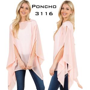 Wholesale Chiffon Poncho Keyhole Solid Colors 3116