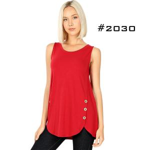 Wholesale Sleeveless Side Wood Button Top 2030