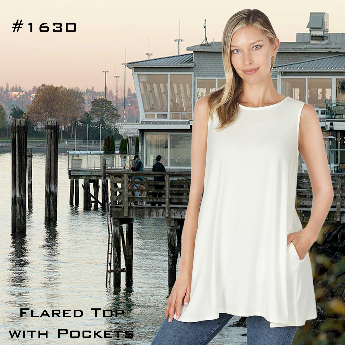 Wholesale Flaired Top with Pockets 1630