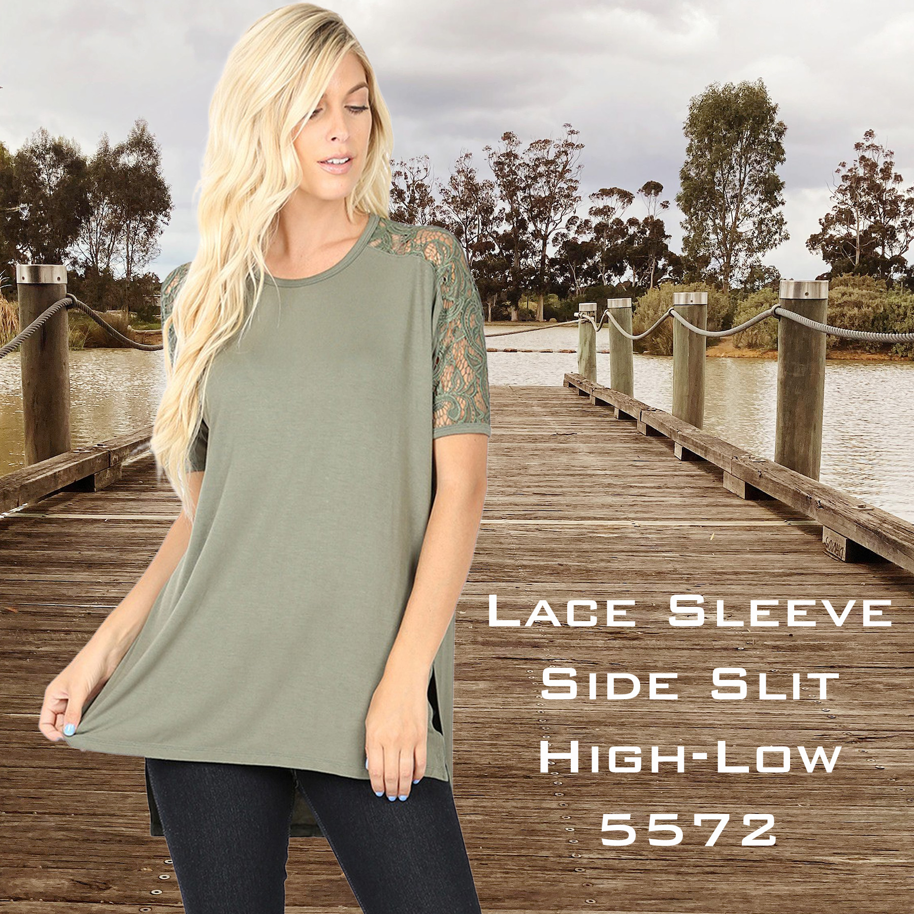 Wholesale Lace Sleeve Side Slit Tops - 5572