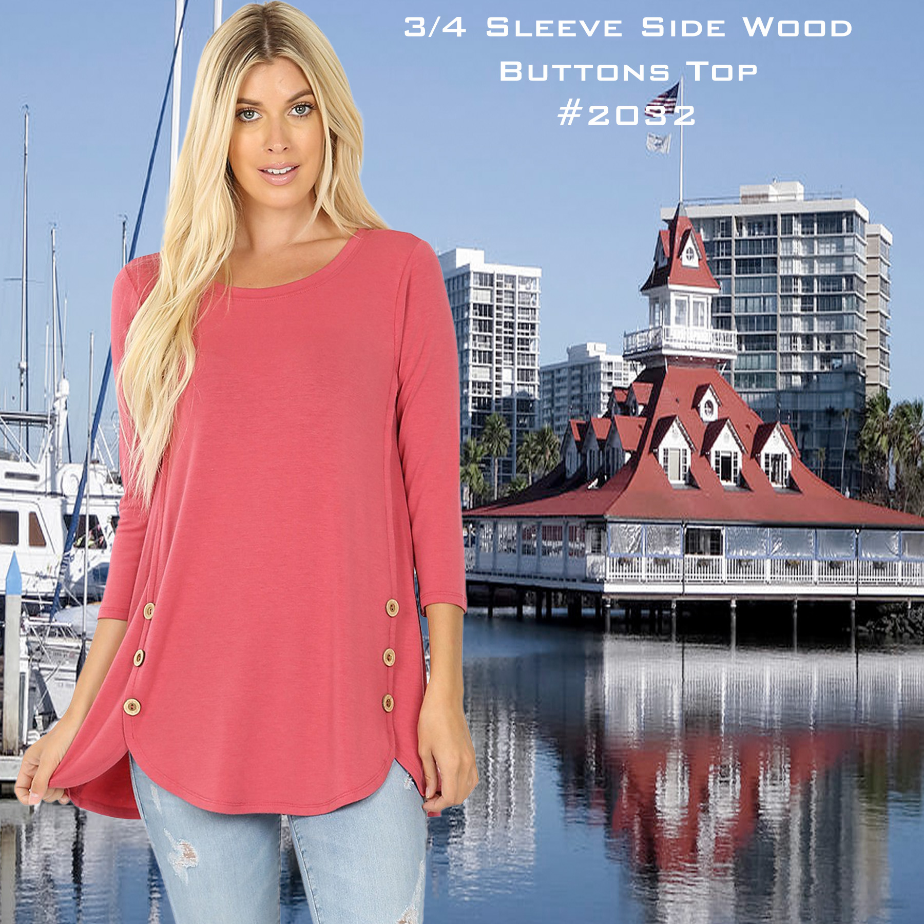 3/4 Sleeve Side Wood Buttons Top 2032