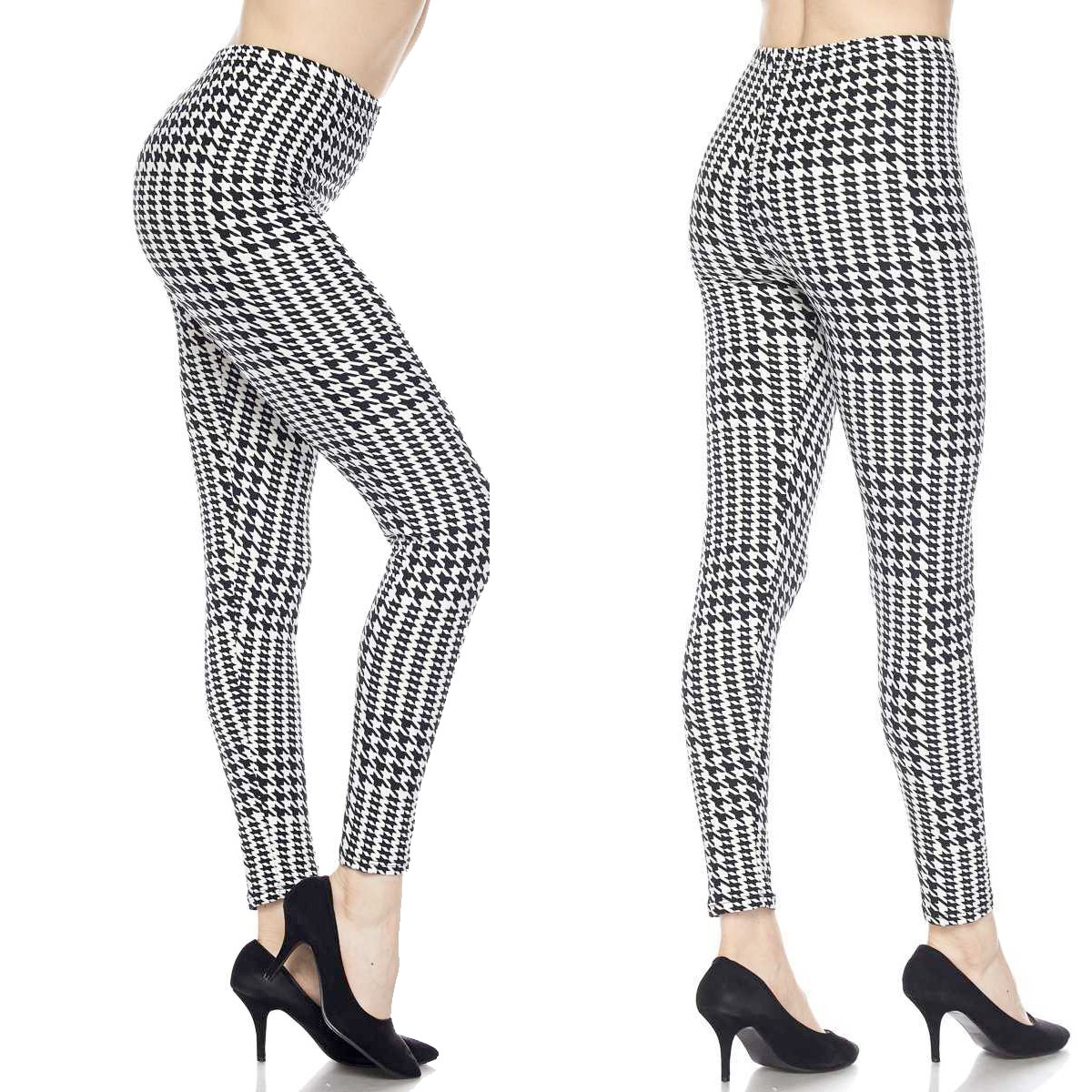 Brushed Fiber Leggings - Ankle Length Prints J084 Houndstooth Brushed Fiber Leggings - Ankle Length  - Plus Size (XL-2X)