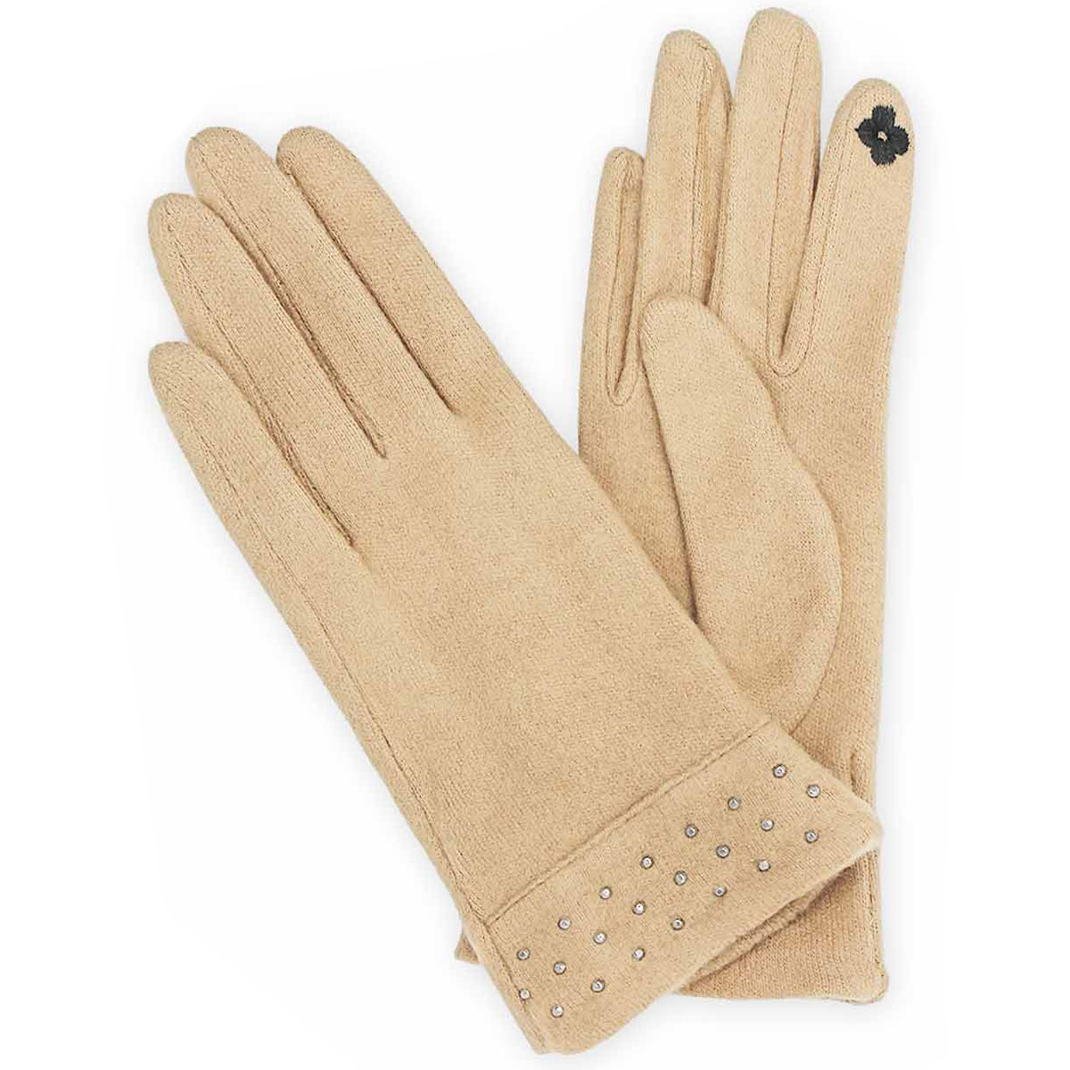 Touch Screen Smart Gloves - Fleece Lined  9829 - Black Quilted w/Button -