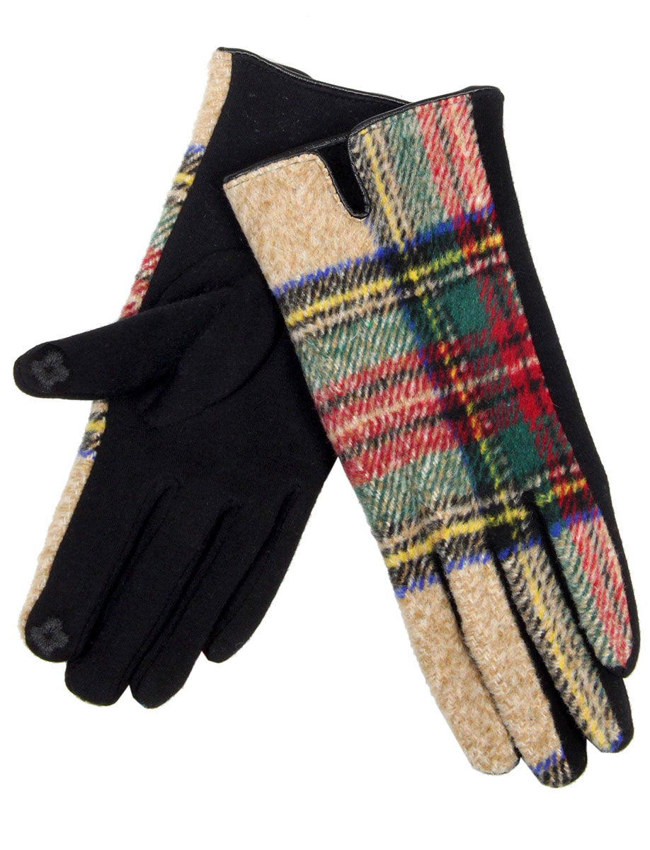 Touch Screen Smart Gloves - Fleece Lined  599 - Tartan Plaid Beige  -