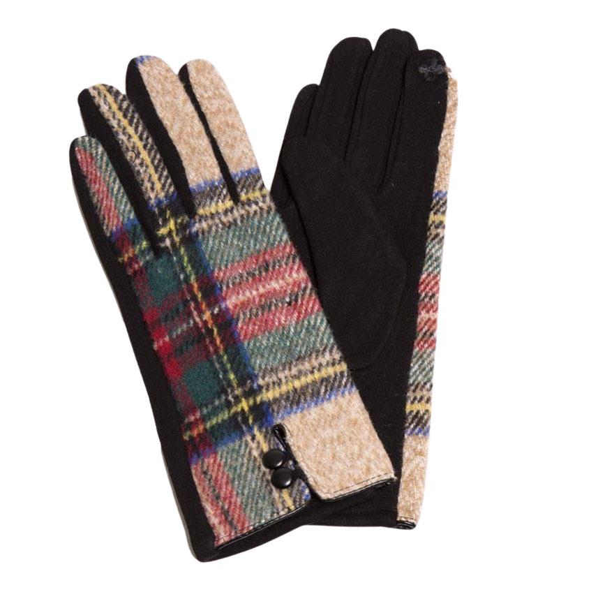 Touch Screen Smart Gloves - Fleece Lined  599 - Tartan Plaid Navy -