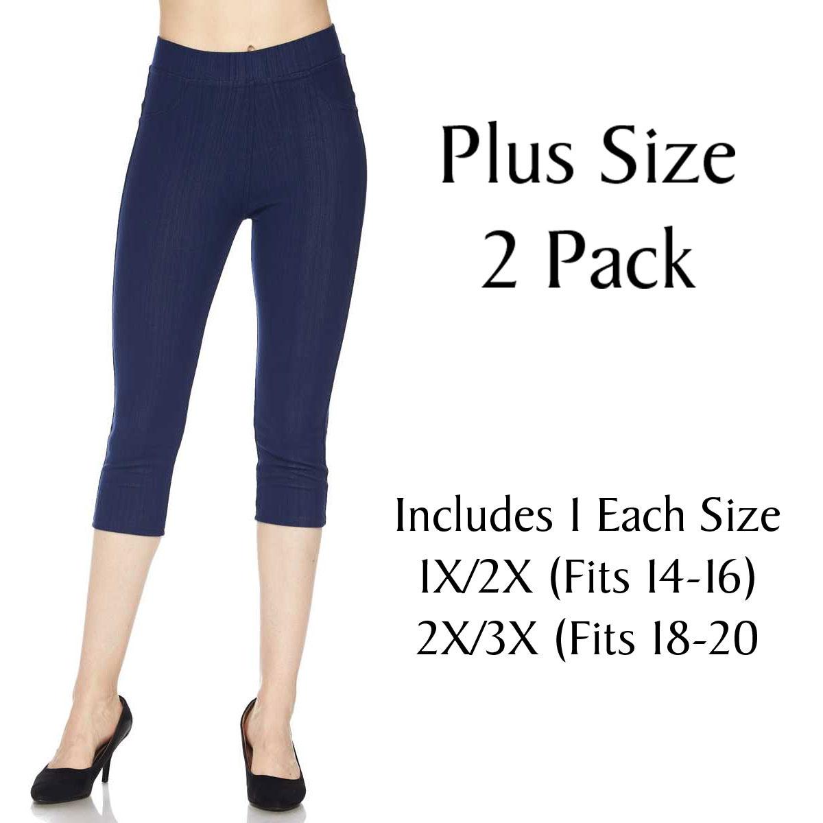 Denim Leggings - Capri Length w/ Back Pockets J04 Rust Plus 2 Pack Denim Leggings - Capri Length J04 - 1 (Fits 14-16) 1 (Fits 18-20)
