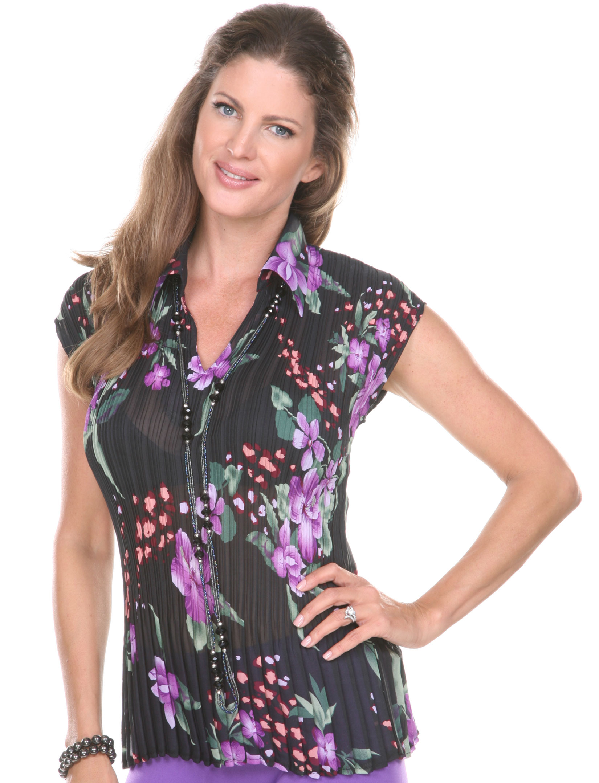 wholesale Georgette Mini Pleats-Cap Sleeve w/ Collar GCWCL