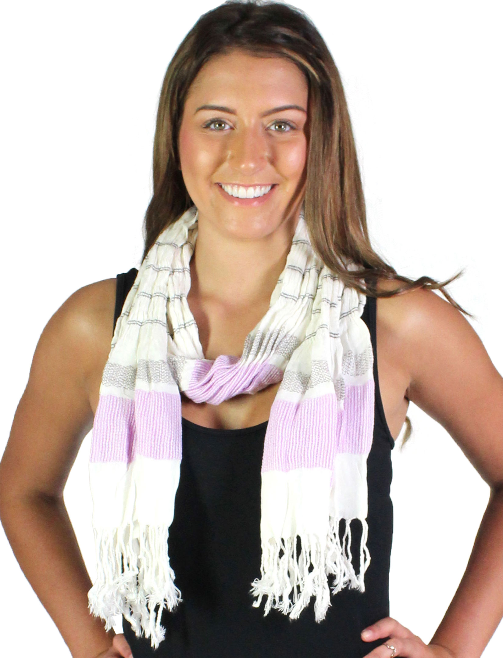 wholesale Oblong Scarves - Striped Ruched 028