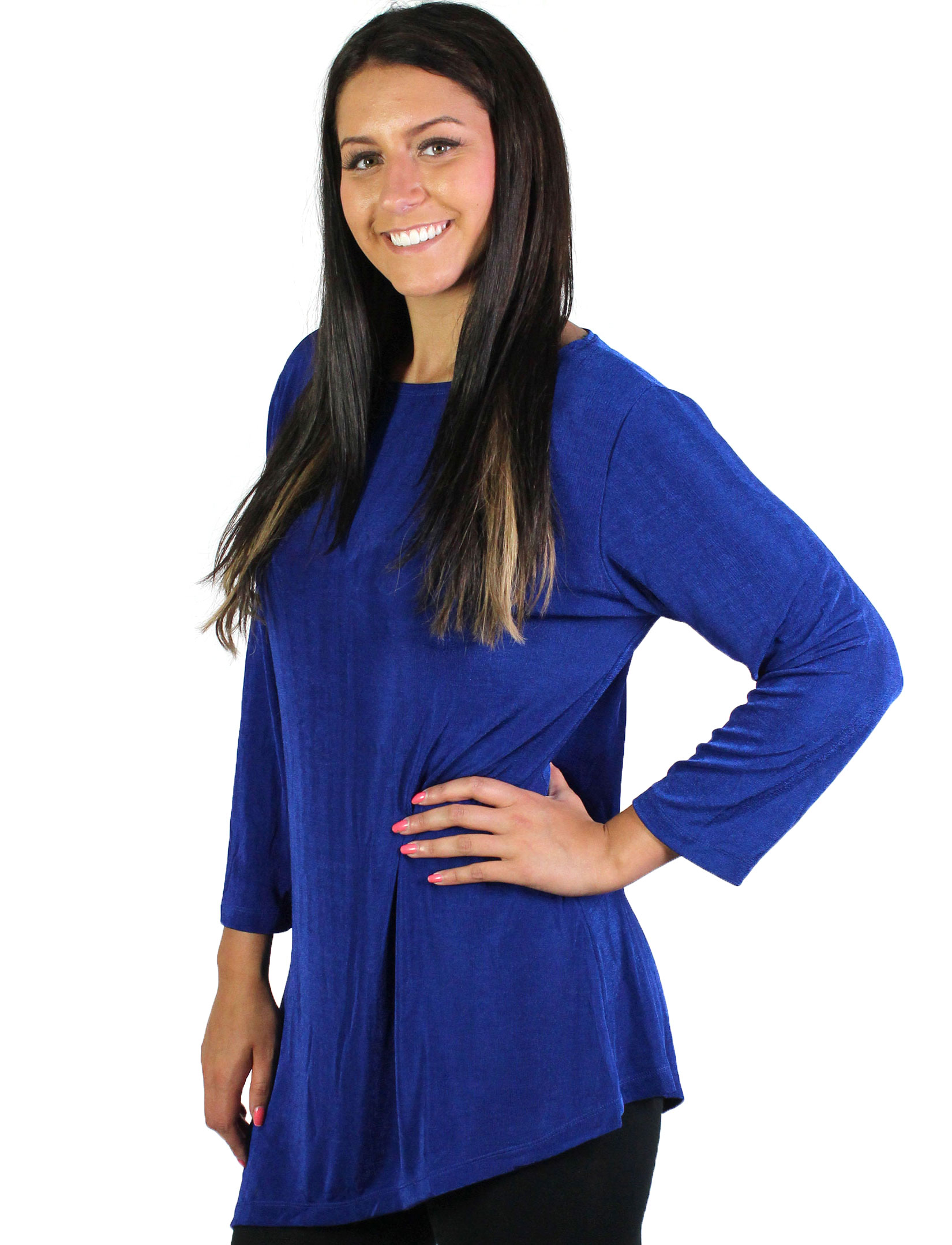 wholesale Slinky Travel Tops - Asymmetric Tunic*