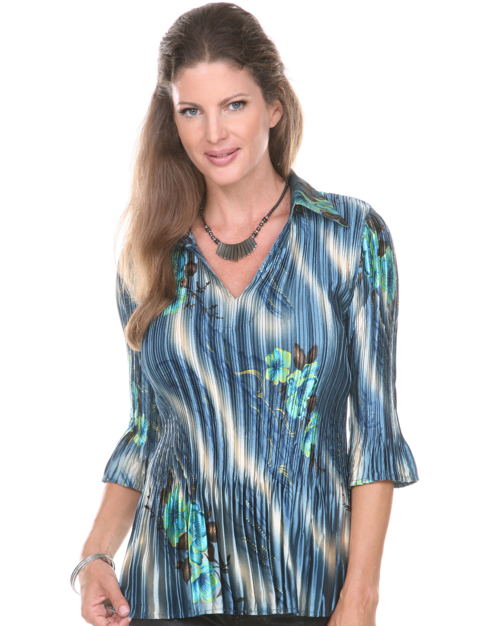 wholesale Satin Mini Pleats - Three Quarter Sleeve w/ Collar