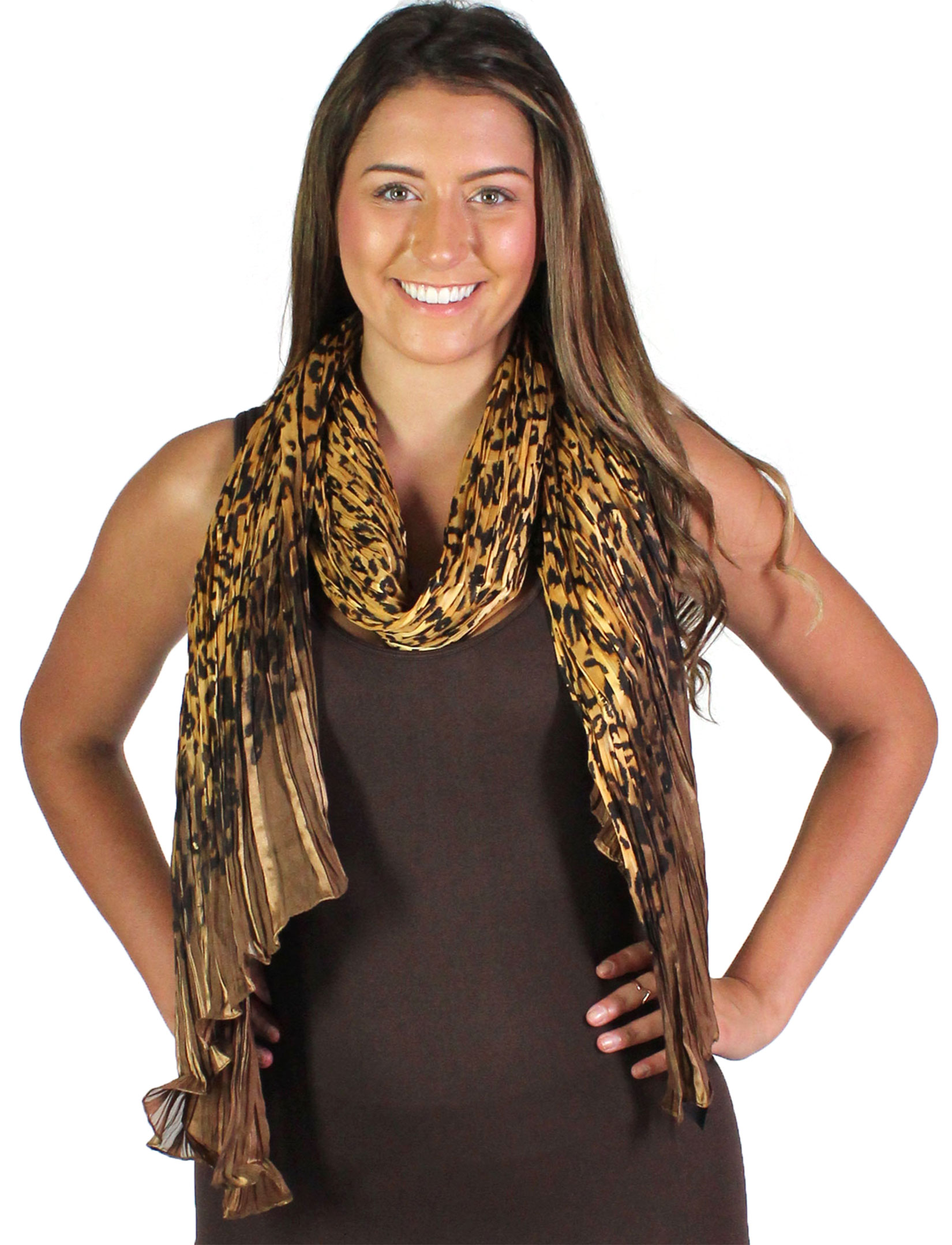 wholesale Oblong Scarves - Pleated Leopard 1003*