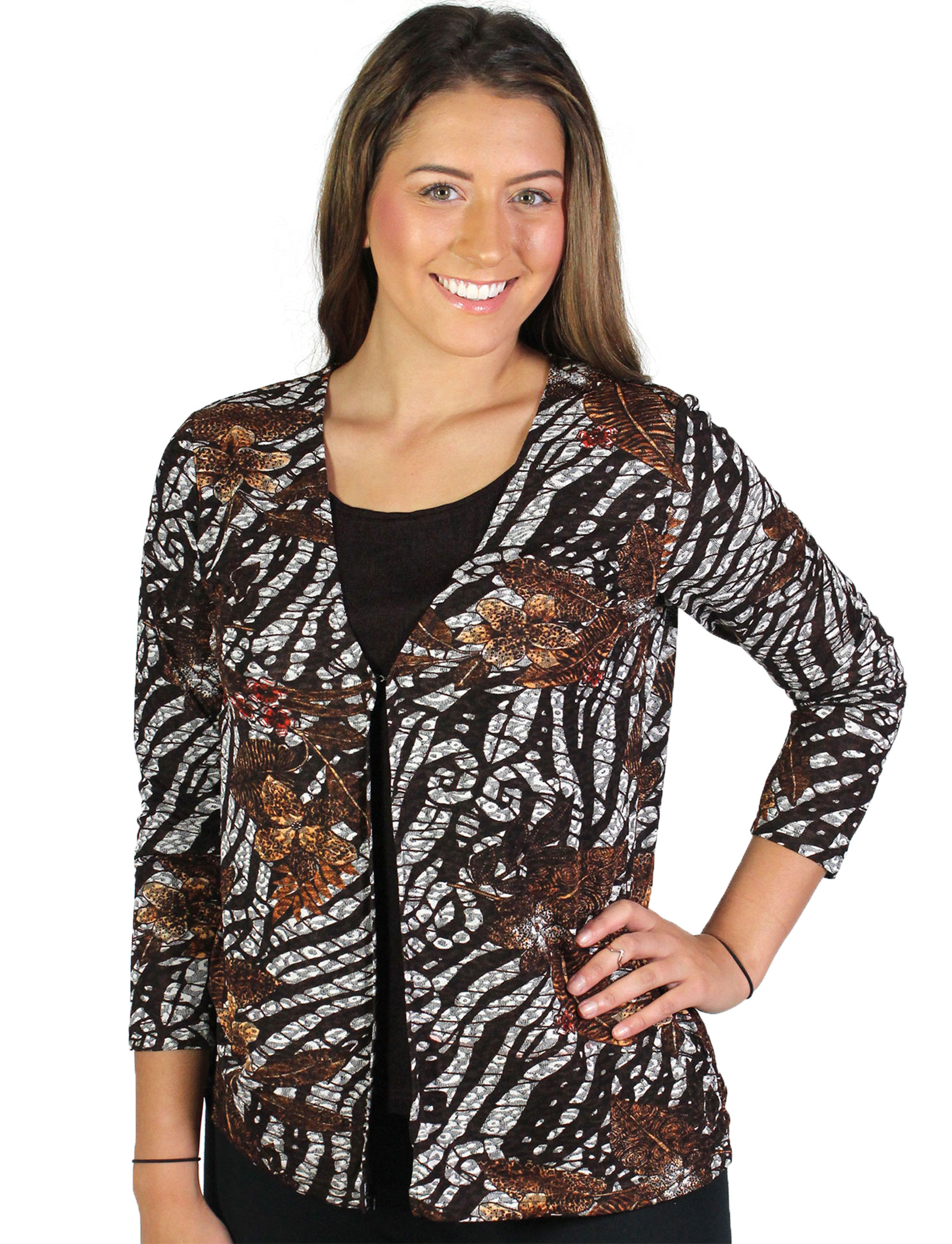 wholesale Slinky Travel Tops - Mock Cardigan*