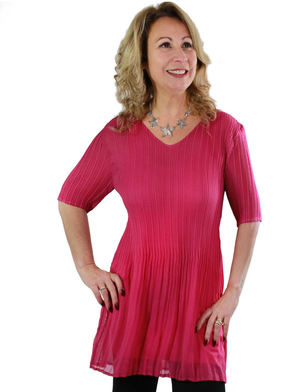 wholesale Georgette Mini Pleats - Half Sleeve Tunic