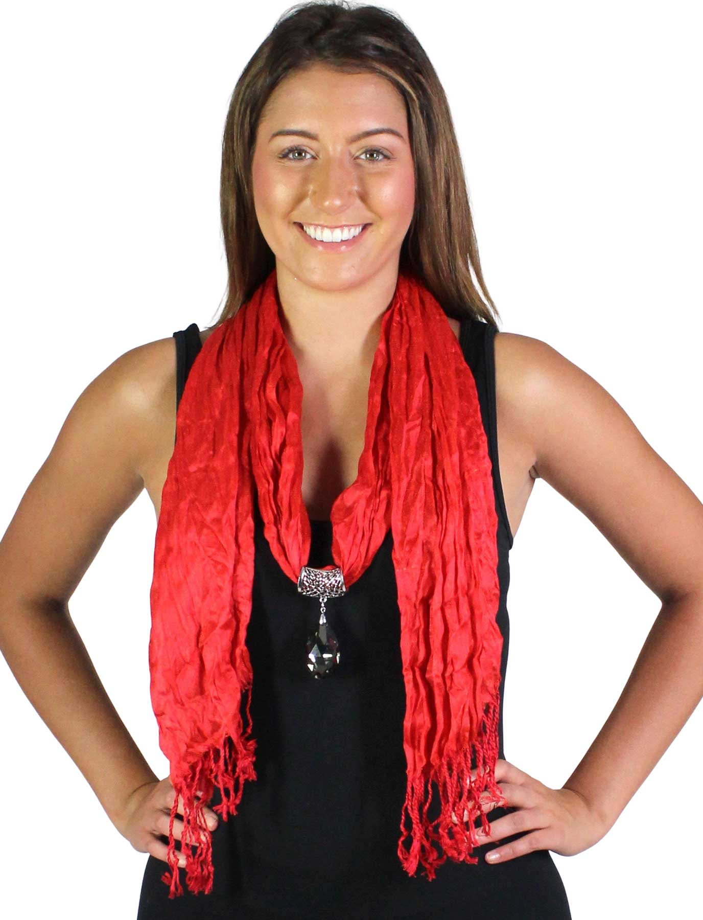 wholesale Oblong Scarves - Crinkle 3081 w/ Pendant*